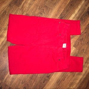 Bright red stretchy jean/ jeggings